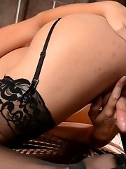 Pretty Jonelle toying in sexy black stockings