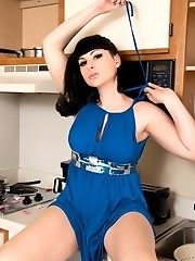 Classy big titted tgirl Bailey Jay stripping in kitchen