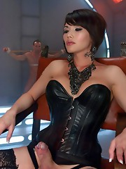 Ts Dom Eva Lin uses her cock and whip to own her slave boy. She makes him kiss her shoes while she fucks his ass.