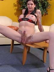 Sexy Morgan posing her long hard shecock