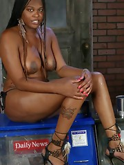 Chocolate beauty Nia strips and plays