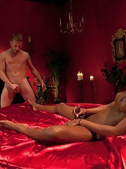 She humiliates him w/her cock size. She makes him eat his pathetic load Her cock can be seen from across the room. She is in control, she cums a river
