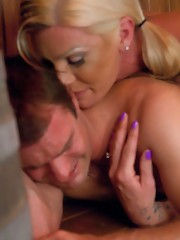Morgan Bailey in her hottest scene -she pins her man down until he agrees to get fucked, he cums twice & she makes him jerk her load into his own