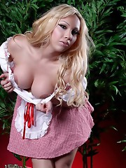 Seductive red riding hood Holly poses