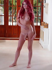 Hot redhead Liberty strips & jerks
