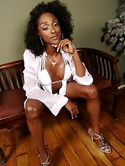 Horny black transsexual posing