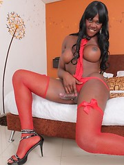 ass,stockings,toy,solo,ebony,big cock,brunette