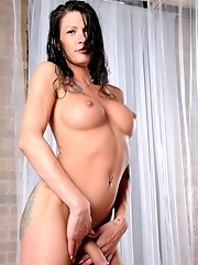 Wet absolutely perfect tgirl posing her gorgeous body