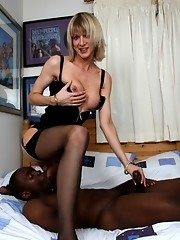 Hot TS gets her tight asshole drilled by a big fat black cock